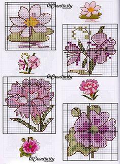 """""""Розовые цветы"""" схемы для вышивки крестиком"""