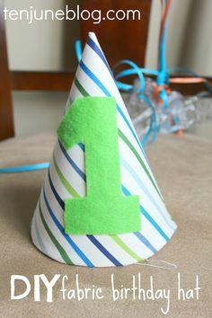 $3 DIY fabric birthday hat #kid #baby #oneyearold #birthday #firstbirthday #hat