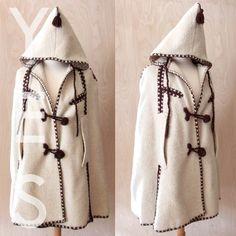 VINTAGE Ivory Wool Cape Poncho Coat Jacket Winter Greek Hood Embroidered L Poncho Coat, Blanket Coat, Wool Cape, Greek, Winter Jackets, Ivory, Women's Fashion, Patterns, Vintage