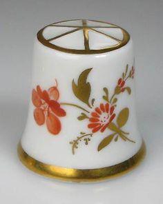 Dedal Porcelana Naranja Flores Hoechst Pintadas a Mano Alemania Nueva