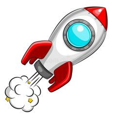 Flying white rocket on white background. Flying white rocket isolated on white background royalty free illustration Space Party, Space Theme, Astronaut Party, Sistema Solar, Activities For Kids, Diy And Crafts, Kids Room, Clip Art, Birthday