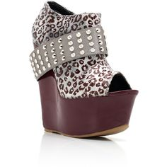 studded leopard bootie wedges ($35) ❤ liked on Polyvore