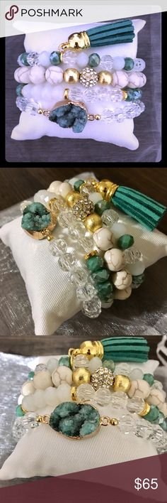 Shamrock Druzy Beaded Stacked Bracelet Set GORGEOUSLY handcrafted bracelet set that includes an shamrock colored druzy center stone beaded bracelet, stacked with 2 accented beaded bracelets and a tassel bracelet finish .... complete with a display pillow perfect for gift giving  . This set also comes in a white organza bag for an optimal fancy finish. A MUST HAVE PIECE!! Jewelry Bracelets