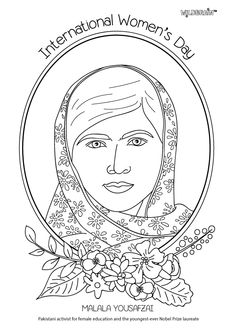The inspirational Malala Yousafzai is a campaigner for girls' education in Pakistan and around the world. She's also a Nobel Prize laureate! #IWD #girlsSTEM #coloringsheets Inspired by @alphamom