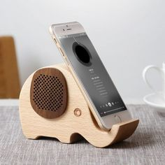 Woodsy Goodsy Bluetooth Speaker & Phone Stand #Bluetooth, #Elephant, #Phone, #Speaker, #Stand