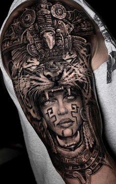 Tattoos And Body Art aztec tattoo Aztec Tattoos Sleeve, Aztec Tribal Tattoos, Mayan Tattoos, Mexican Art Tattoos, Aztec Tattoo Designs, Inca Tattoo, Best Sleeve Tattoos, Tattoo Sleeve Designs, Body Art Tattoos
