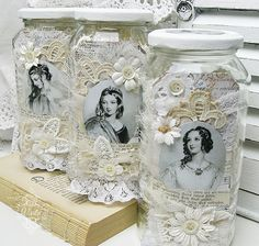 Shabby Chic Inspired: altered jars -  for lace storage