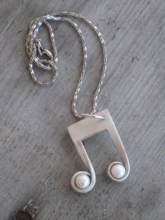 Eighth Note Necklace with Pearls from Vintage Upcycled Silverplate Fork Music Note (00533-LV)