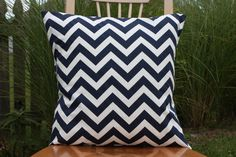 "Navy and White Chevron Pillow Cover - 20"" x 20"". $15.00, via Etsy."