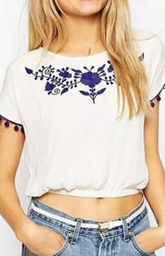 Blue Floral Embroidery T-Shirt