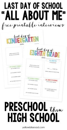 *FREE* Last Day of School Interview Printables