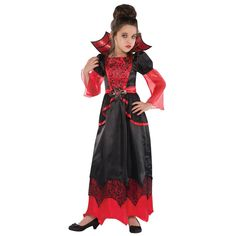 Buy Vampire Queen Childrens Costume, available for Next Day Delivery. Our Vampire Queen Costume for girls features a gothic red and black gown with black lace print on the bodice and sheer red tulle flowing out from t . Fancy Dress Costumes Kids, Queen Halloween Costumes, Queen Costume, Halloween Fancy Dress, Costume Dress, Girl Costumes, Halloween Ideas, Halloween Party, Halloween 2017