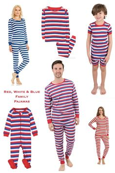 Red White and Blue Matching Family Pajamas Family Matching Pjs, Family Pjs, Cute Family, Blue Gingham, Blue Stripes, Boyfriend Sleeping, Mother Daughter Matching Outfits, Holiday Pajamas, Striped Pyjamas