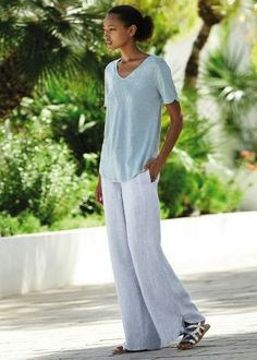Poetry - Wide-leg striped linen trousers - Our favourite casual trousers in a finely striped linen that has been washed for a lovely soft feel. Wide-leg silhouette that finishes with a curved hem and an elasticated waistline for the perfect fit. Linen Pants Outfit, Linen Trousers, Wide Leg Trousers, Striped Linen, White Pants, Blue Denim, Perfect Fit, Legs, My Style
