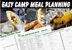 Easy camp meal and menu planning ideas - plus a camp food grocery list and portion chart
