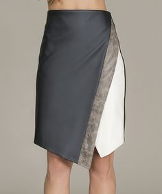 Black & White Color Block Asymmetrical Skirt