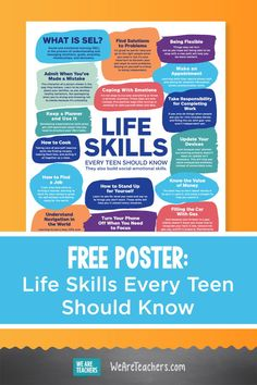 This free printable life skills teens need poster shares many different life skills and how each one supports important social-emotional learning. #socialemotionallearning #printables #highschool #mentalhealth #communication #teaching #teachers #parenting High School Classroom, Middle School Teachers, Social Emotional Learning, Social Skills, Skills To Learn, Life Skills, Character Of A Person, Free Poster Printables, Mental Health Awareness Month