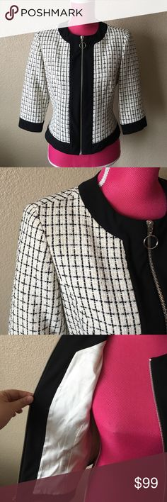 Trina Turk Check Tweed Blazer Jacket w/Black Trim Gorgeous and classic piece! New without tags. Modern fit and design. Very chanel-esque. White black and creme color. 3/4 sleeves. Offers welcome through offer tab. No trades. 10206171161 Trina Turk Jackets & Coats Blazers