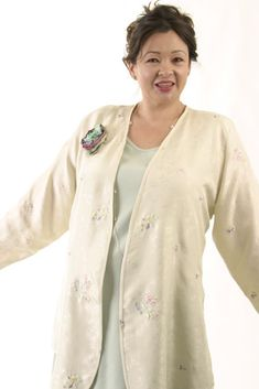 Dressy Jacket Ivory Pastels Embroidered Floral Silk SHOP NOW: Unique jackets for women Sizes 14 - mother of the bride, special occasion, artwear, elegant and unique women's clothing,xoPeg Mature Fashion, Over 50 Womens Fashion, Curvy Fashion, Plus Size Fashion, Women's Fashion, Fashion Boots, Street Fashion, Fashion Outfits, Day To Night Outfits