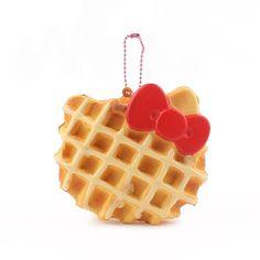 Sanrio Hello Kitty Squishy Face Shaped Waffle Ball Chain (White Chocolate) - Hamee