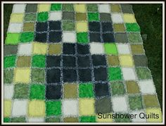 Sunshower Quilts: Minecraft Creeper Rag Quilt is Finished!