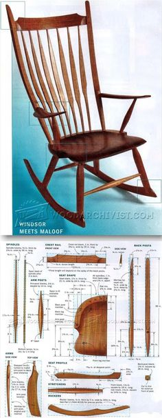 Windsor Rocking Chair Plans - Furniture Plans and Projects - Woodwork, Woodworking, Woodworking Plans, Woodworking Projects Woodworking Furniture Plans, Woodworking Projects That Sell, Diy Woodworking, Furniture Projects, Wood Furniture, Wood Projects, Rocking Chair Plans, Wood Chair Design, Muebles Art Deco
