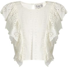 Sea Ruffled-front broderie-anglaise cotton top ($295) ❤ liked on Polyvore featuring tops, scallop edge top, scalloped tops, frill top, white ruffle top and sea, new york