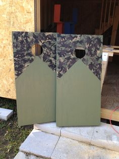 Camo corn hole boards
