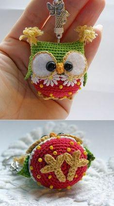 Owl keychain crochet owl key chain amigurumi owl toy bag by Laska: