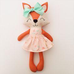 Fox doll - fabric doll  - handmade doll - rag doll - girls room decor - baby gift - woodland nursery - plush fox - birthday gift - floral by LittleSunshineShop11 on Etsy https://www.etsy.com/listing/507482870/fox-doll-fabric-doll-handmade-doll-rag