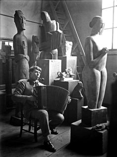 Ossip Zadkine in His Studio. Photograph by Andre Kertesz, 1926.