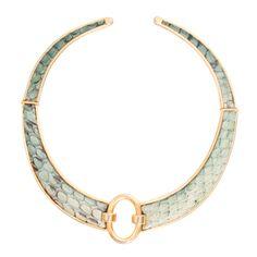 1stdibs - Vintage snak skin neckless on gold hard ware explore items from 1,700  global dealers at 1stdibs.com