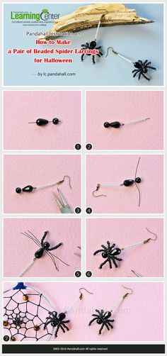 Pandahall Instruction on How to Make a Pair of Beaded Spider Earrings for Halloween from LC.Pandahall.com