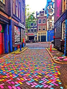 painted herringbone pattern bricks. Amsterdam
