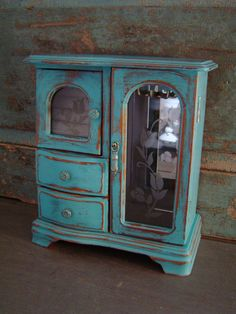 Turquoise Distressed Jewelry Box Wooden $40