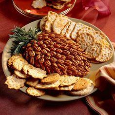 This unusual cheese ball recipe uses toasted pecan halves and rosemary sprigs for a creative presentation that's sure to delight party guests. I've made this several times, but I use my own cheese ball recipe. Cheese Ball Recipes, Cream Cheese Recipes, Appetizer Recipes, Cheese Appetizers, My Recipes, Holiday Recipes, Favorite Recipes, Roast Recipes, Holiday Treats
