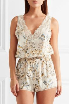 1ac63de878a3 Stella McCartney - Poppy Snoozing lace-trimmed floral-print stretch-silk  crepe de chine playsuit