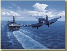 F4U approaching USS Valley Forge CV-45 Painted by Stan Stokes                                                                                                                                                                                 More