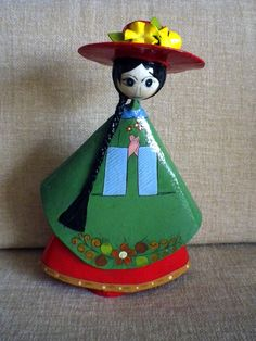 Vintage 60s 70s  Paper Papier Mache Mexican Mexico Mod Lady Gemma Taccogna Style Woman Figurine Mod Big Eyes Eyed Flower Hat. $29.00, via Etsy.