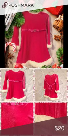 Cute little girl pink Santa dress Has glitter shine to . With faux fur white edge. Cute with pair of leggings are not Dresses Formal