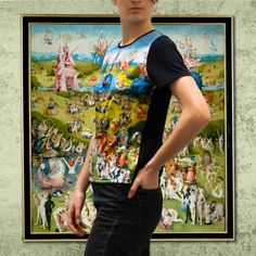 """Bosch """"Garden of Eartlhy Delight"""" Tshirt · Camiseta con el diseño de """"El Jardín de las Delicias"""" de El Bosco · Kessler Museum Merchandising (@Kessler_museum) · #elbosco #bosch #earthlydelights #eljardindelasdelicias #artwork #art #tshirt #fashion #artfashion #museum Tank Man, Clothing, Artwork, Prints, Mens Tops, Painting, Products, Adam And Eve, Digital Prints"""