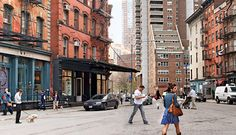 """Tribeca: Means """"Triangle Below Canal Street."""" Small and exclusive, non-touristy, industrial architecture, celebrity residences, near Soho, the Village and financial district. Fine dining and Robert DeNiro's Greenwich Hotel among others."""