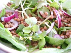 Warm Puy Lentil Salad with Baby Spinach and Watercress and a Balsamic ...