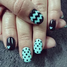 Turquoise/mint nails with dots and zigzag/chevron