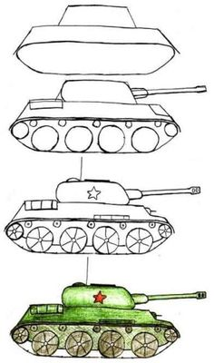 Drawing Lessons For Kids, Drawing Tutorials For Kids, Easy Drawings For Kids, Painting Lessons, Art Lessons, Art For Kids, Tank Drawing, Army Drawing, Kindergarten Drawing