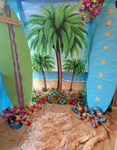End of Year Luau party backdrop for my stinkers 4th grade class☀️☀️☀️. Surf boards were leftover from one of the other classes past parties, BONUS, they are super cute. | Flickr - Photo Sharing!