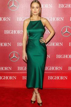 The New Wave Of Slip Dresses Celebrities LOVE  #refinery29  http://www.refinery29.com/celebrity-slip-dress-trend#slide-4  The cut on Brie Larson's silk Jason Wu dress already sets the slip apart from the usually fitted-but-shapeless pack. The three key features on this emerald number — the squared neckline, high waistline, and slight flare at the hem — give it a mermaid-esque silhouette, and make it way memorable....