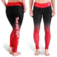 Women's Detroit Red Wings Black Gradient Print Leggings