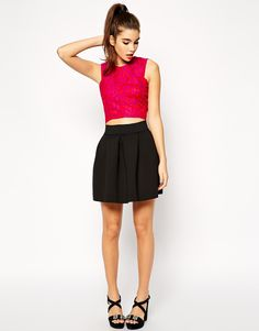 Image 1 ofASOS Full Skirt in Scuba with Elastic Waist