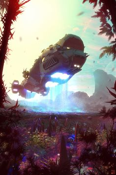 Starship Blackbeard 2 - Lords of Space by Hideyoshi spacecraft spaceship forest jungle alien landscape location environment architecture | Create your own roleplaying game material w/ RPG Bard: www.rpgbard.com | Writing inspiration for Dungeons and Dragons DND D&D Pathfinder PFRPG Warhammer 40k Star Wars Shadowrun Call of Cthulhu Lord of the Rings LoTR + d20 fantasy science fiction scifi horror design | Not Trusty Sword art: click artwork for source